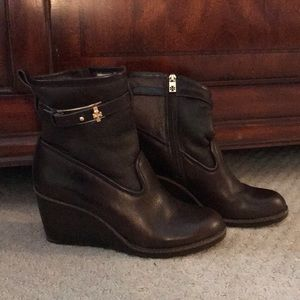 Tory Burch Brown Leather Wedge Booties